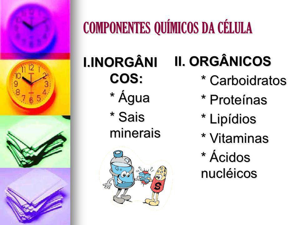 COMPONENTES QUÍMICOS DA CÉLULA I.INORGÂNI COS: * Água * Sais minerais II. ORGÂNICOS * Carboidratos * Proteínas * Lipídios * Vitaminas * Ácidos nucléic
