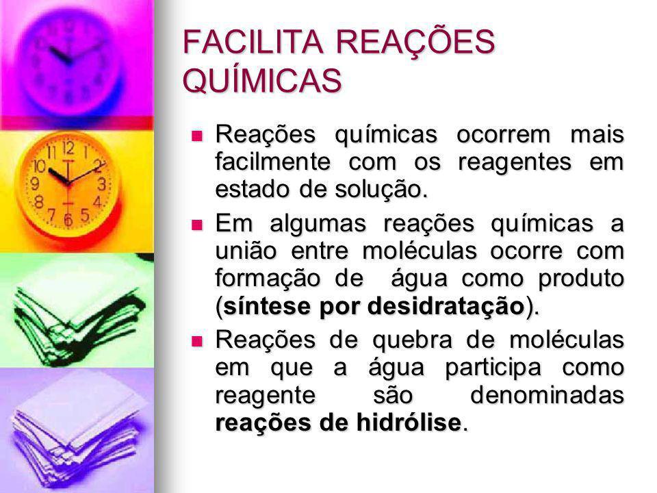 FACILITA REAÇÕES QUÍMICAS Reações químicas ocorrem mais facilmente com os reagentes em estado de solução. Reações químicas ocorrem mais facilmente com