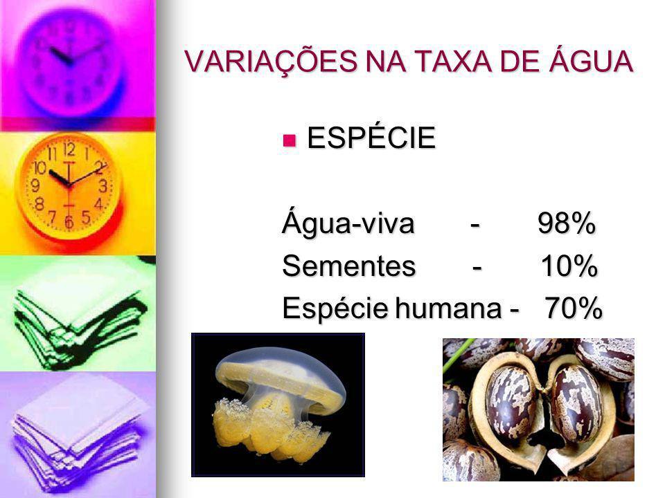 VARIAÇÕES NA TAXA DE ÁGUA ESPÉCIE ESPÉCIE Água-viva - 98% Sementes - 10% Espécie humana - 70%