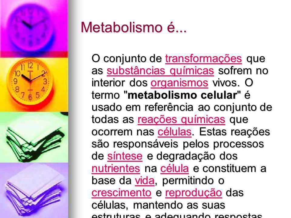 Metabolismo é... O conjunto de transformações que as substâncias químicas sofrem no interior dos organismos vivos. O termo