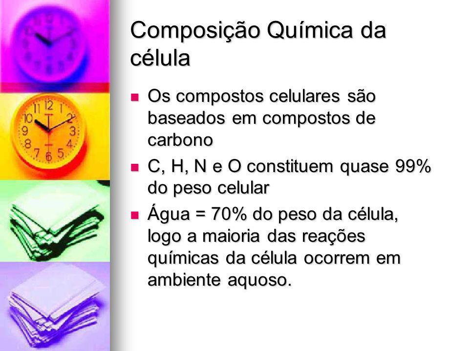 Composição Química da célula Os compostos celulares são baseados em compostos de carbono Os compostos celulares são baseados em compostos de carbono C