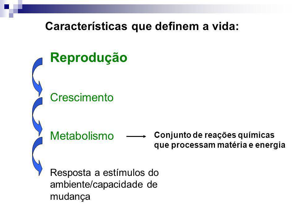 Reprodução Crescimento Metabolismo Resposta a estímulos do ambiente/capacidade de mudança Características que definem a vida: Conjunto de reações quím