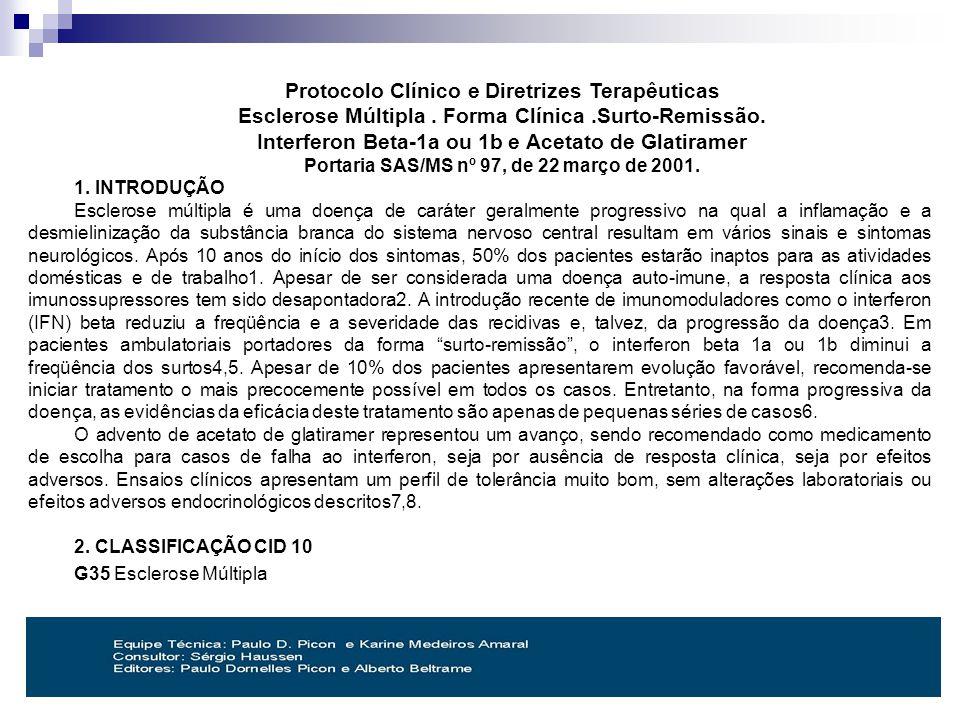 Protocolo Clínico e Diretrizes Terapêuticas Esclerose Múltipla.