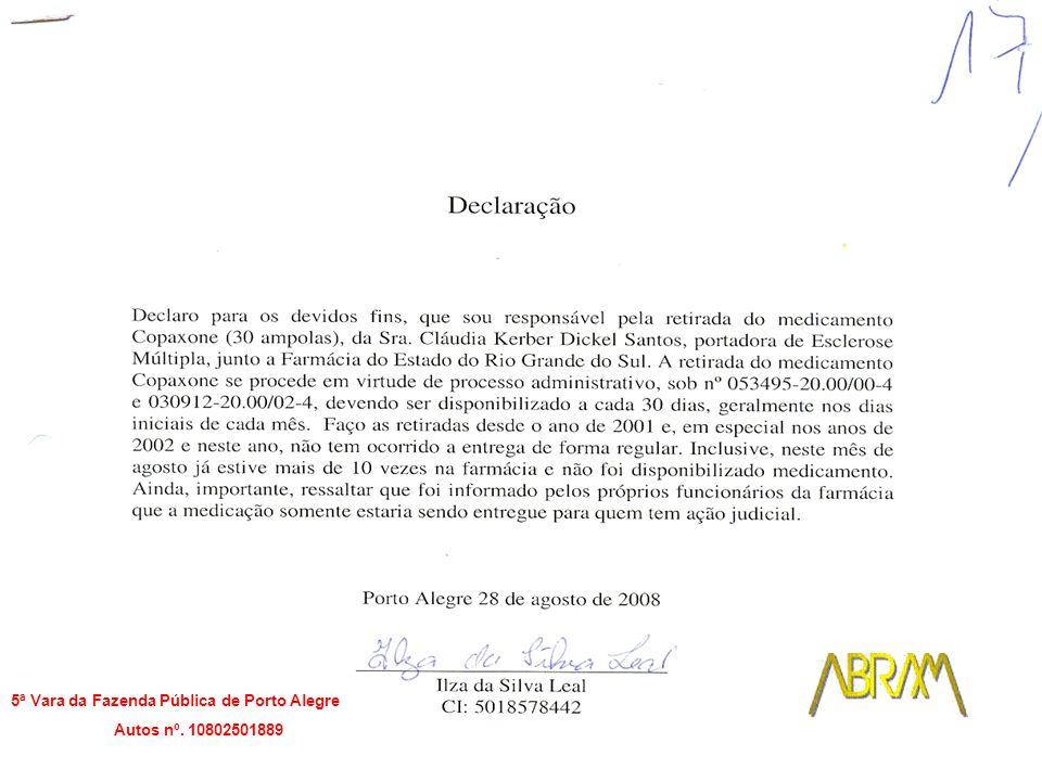 5ª Vara da Fazenda Pública de Porto Alegre Autos nº. 10802501889