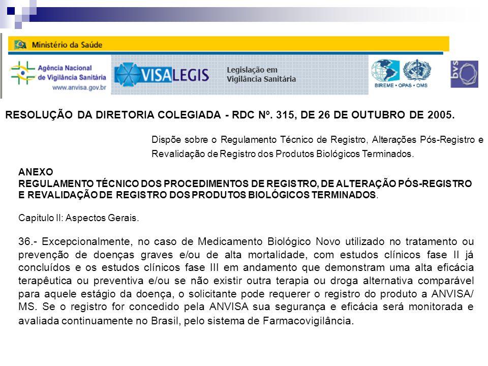 RESOLUÇÃO DA DIRETORIA COLEGIADA - RDC Nº. 315, DE 26 DE OUTUBRO DE 2005.