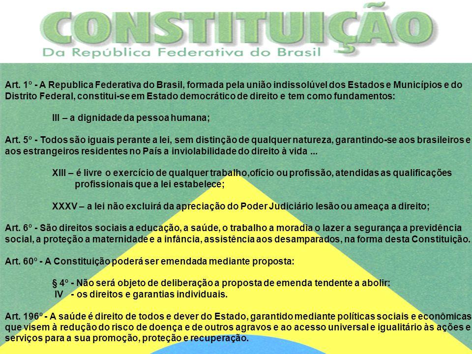 Art. 1º - A Republica Federativa do Brasil, formada pela união indissolúvel dos Estados e Municípios e do Distrito Federal, constitui-se em Estado dem