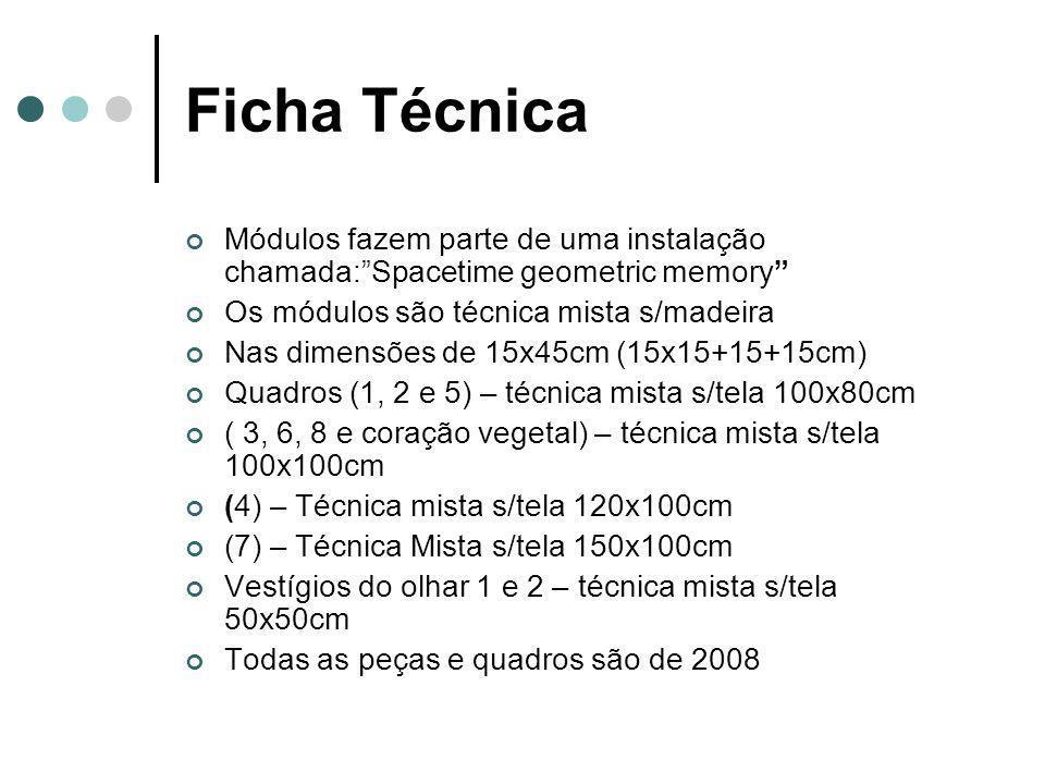 Ficha Técnica Módulos fazem parte de uma instalação chamada: Spacetime geometric memory Os módulos são técnica mista s/madeira Nas dimensões de 15x45cm (15x15+15+15cm) Quadros (1, 2 e 5) – técnica mista s/tela 100x80cm ( 3, 6, 8 e coração vegetal) – técnica mista s/tela 100x100cm (4) – Técnica mista s/tela 120x100cm (7) – Técnica Mista s/tela 150x100cm Vestígios do olhar 1 e 2 – técnica mista s/tela 50x50cm Todas as peças e quadros são de 2008