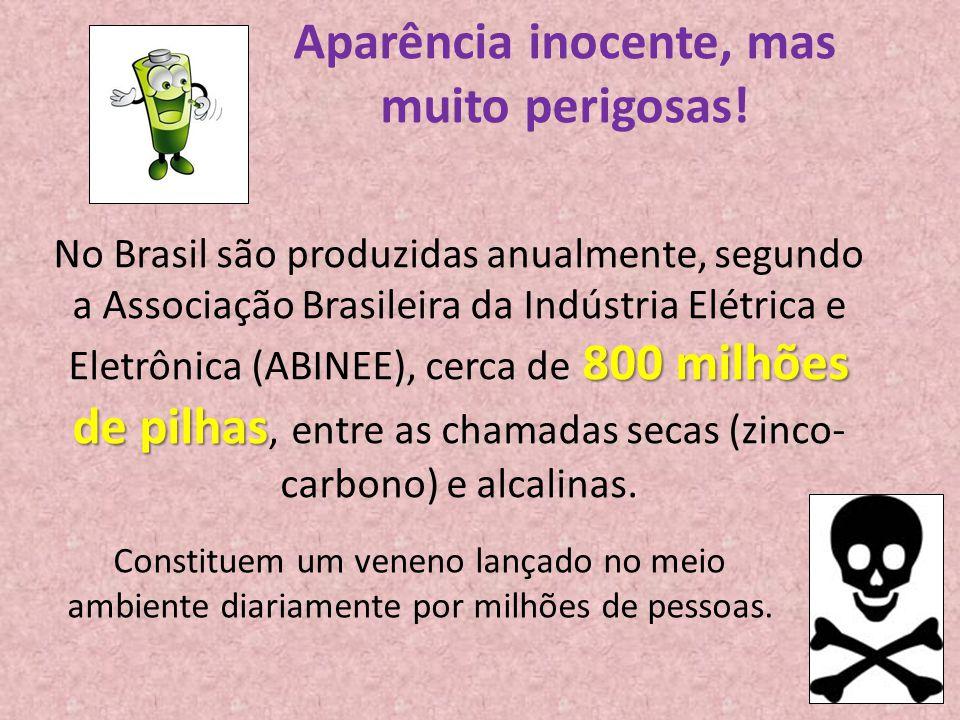 Aparência inocente, mas muito perigosas! 800 milhões de pilhas No Brasil são produzidas anualmente, segundo a Associação Brasileira da Indústria Elétr