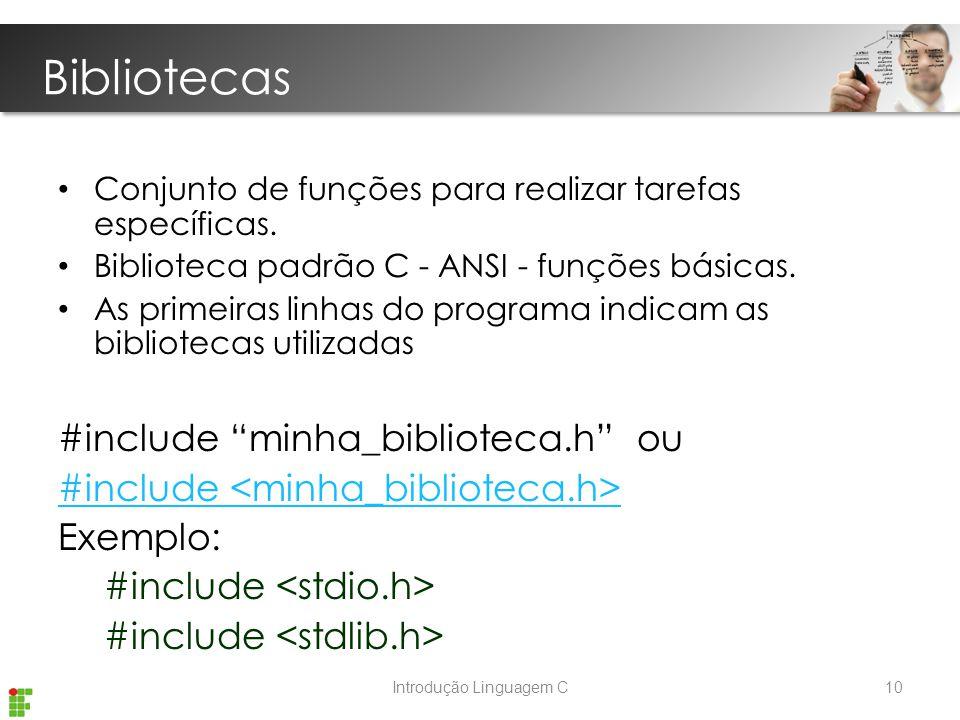 Introdução Linguagem C Bibliotecas Conjunto de funções para realizar tarefas específicas.