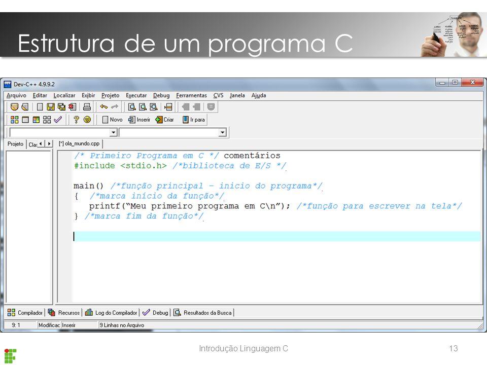 Introdução Linguagem C Estrutura de um programa C 13