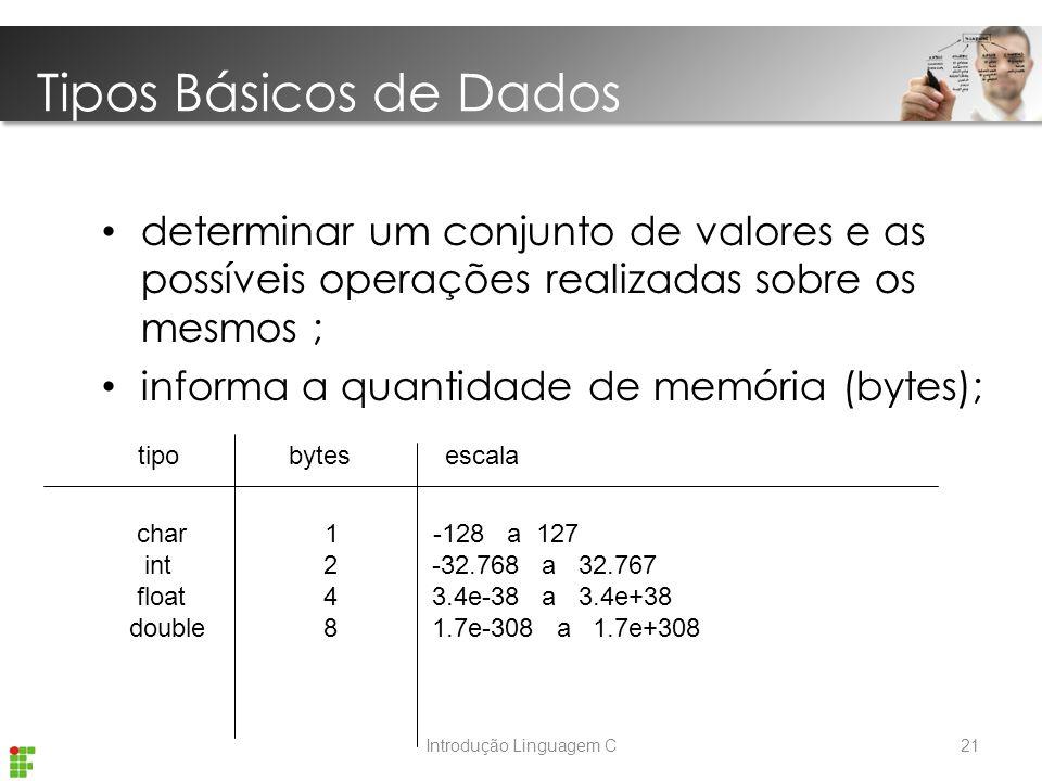 Introdução Linguagem C determinar um conjunto de valores e as possíveis operações realizadas sobre os mesmos ; informa a quantidade de memória (bytes); tipo bytes escala char 1 -128 a 127 int 2 -32.768 a 32.767 float 4 3.4e-38 a 3.4e+38 double 8 1.7e-308 a 1.7e+308 Tipos Básicos de Dados 21