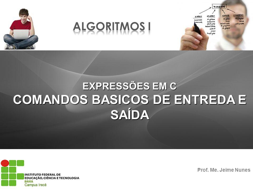 COMANDOS BASICOS DE ENTREDA E SAÍDA Prof. Me. Jeime Nunes