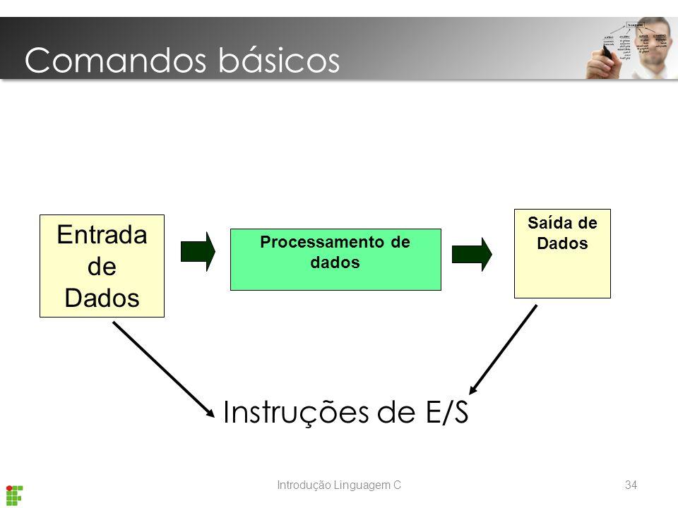 Introdução Linguagem C Instruções de E/S Entrada de Dados Processamento de dados Saída de Dados Comandos básicos 34
