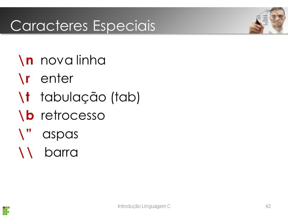 Introdução Linguagem C \n nova linha \r enter \t tabulação (tab) \b retrocesso \ aspas \\ barra Caracteres Especiais 42