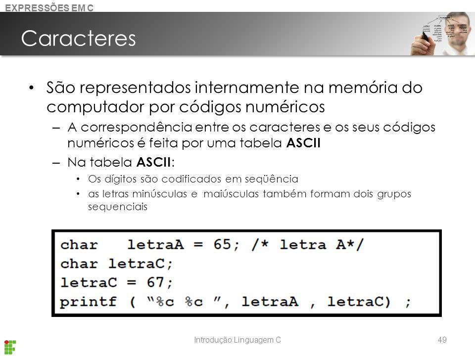Introdução Linguagem C Caracteres São representados internamente na memória do computador por códigos numéricos – A correspondência entre os caracteres e os seus códigos numéricos é feita por uma tabela ASCII – Na tabela ASCII : Os dígitos são codificados em seqüência as letras minúsculas e maiúsculas também formam dois grupos sequenciais 49 EXPRESSÕES EM C