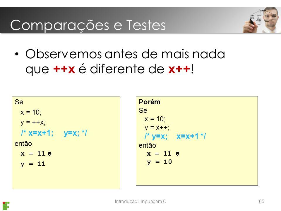 Introdução Linguagem C Observemos antes de mais nada que ++x é diferente de x++ .