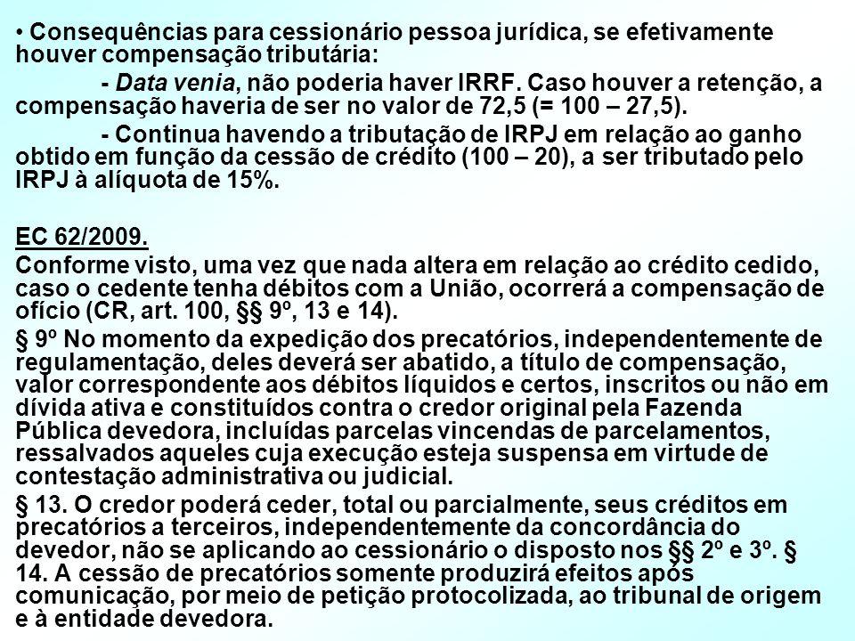 Consequências para cessionário pessoa jurídica, se efetivamente houver compensação tributária: - Data venia, não poderia haver IRRF. Caso houver a ret