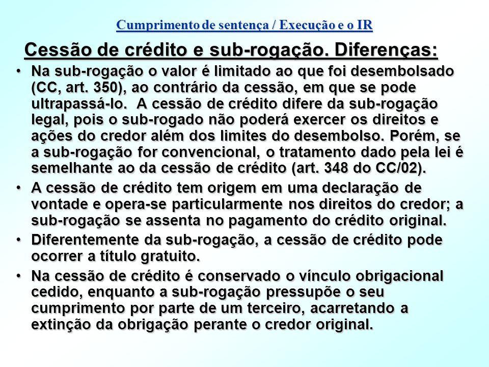Cessão de crédito e sub-rogação. Diferenças: Na sub-rogação o valor é limitado ao que foi desembolsado (CC, art. 350), ao contrário da cessão, em que