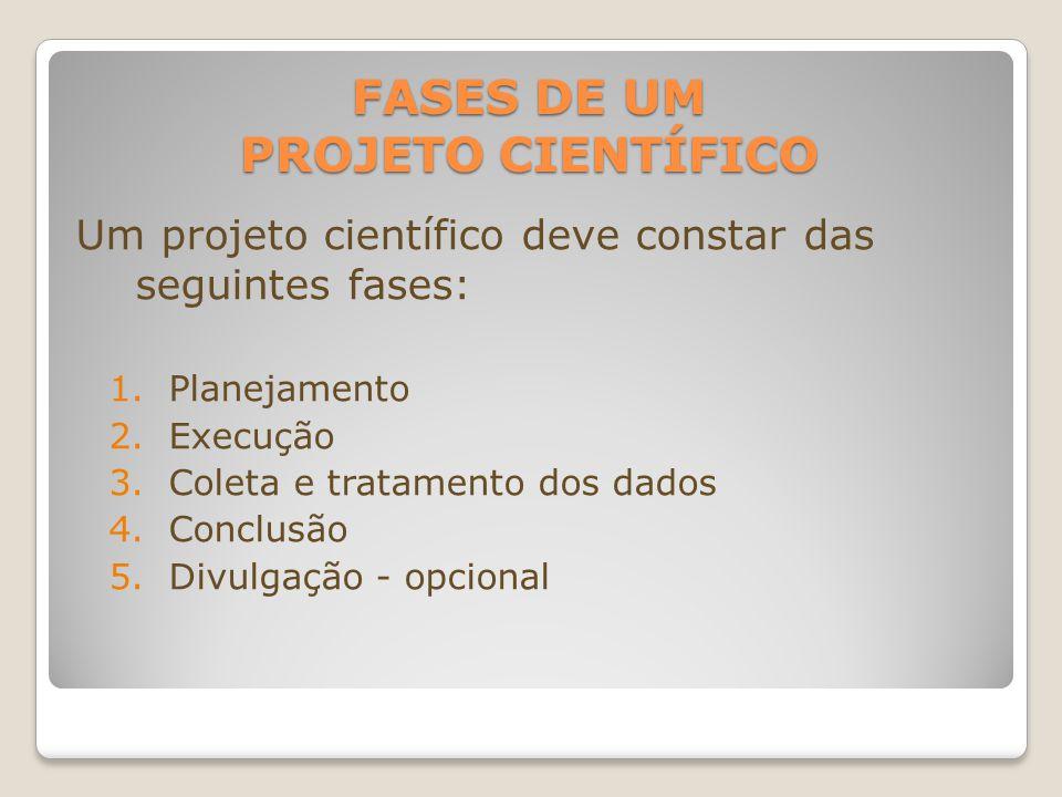 FASES DE UM PROJETO CIENTÍFICO Um projeto científico deve constar das seguintes fases: 1.Planejamento 2.Execução 3.Coleta e tratamento dos dados 4.Con