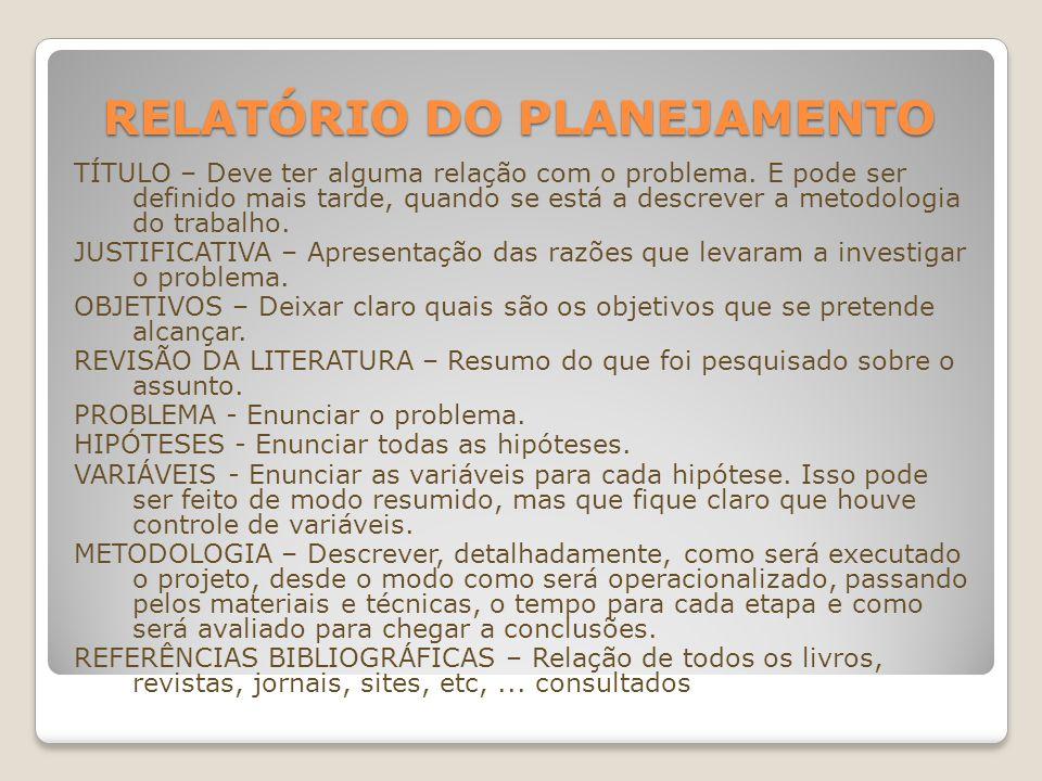 RELATÓRIO DO PLANEJAMENTO TÍTULO – Deve ter alguma relação com o problema. E pode ser definido mais tarde, quando se está a descrever a metodologia do