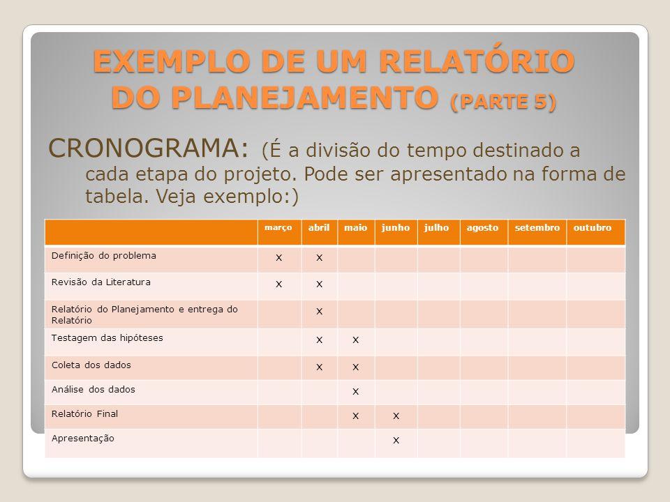 EXEMPLO DE UM RELATÓRIO DO PLANEJAMENTO (PARTE 5) CRONOGRAMA: (É a divisão do tempo destinado a cada etapa do projeto. Pode ser apresentado na forma d