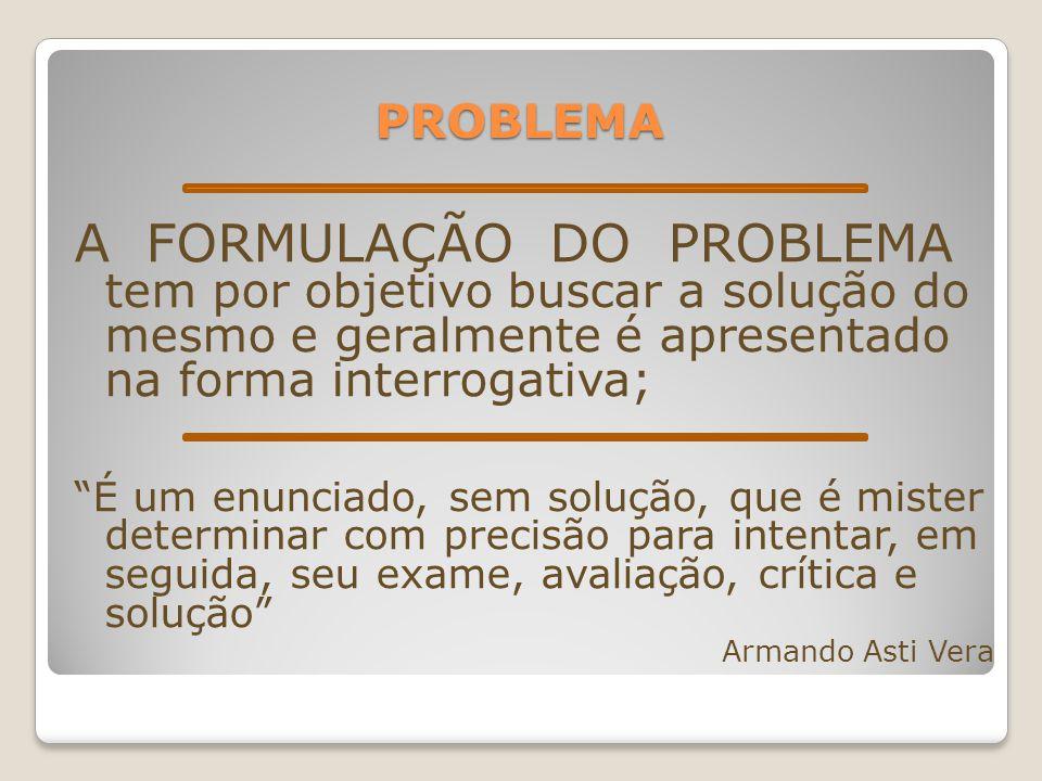 """PROBLEMA A FORMULAÇÃO DO PROBLEMA tem por objetivo buscar a solução do mesmo e geralmente é apresentado na forma interrogativa; """"É um enunciado, sem s"""