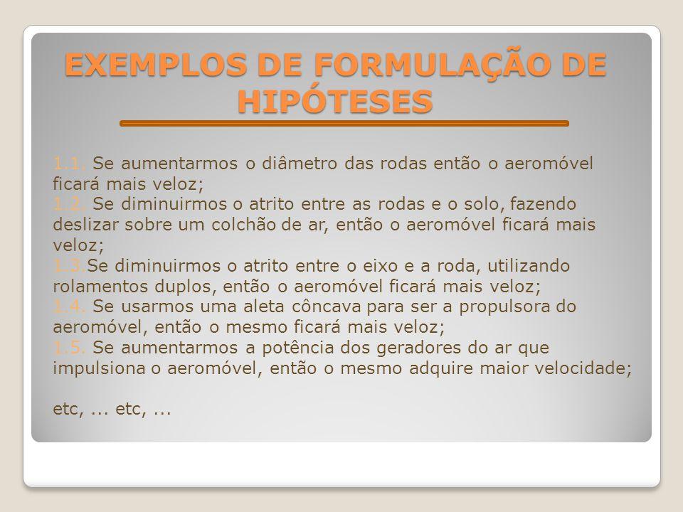 EXEMPLOS DE FORMULAÇÃO DE HIPÓTESES 1.1. Se aumentarmos o diâmetro das rodas então o aeromóvel ficará mais veloz; 1.2. Se diminuirmos o atrito entre a