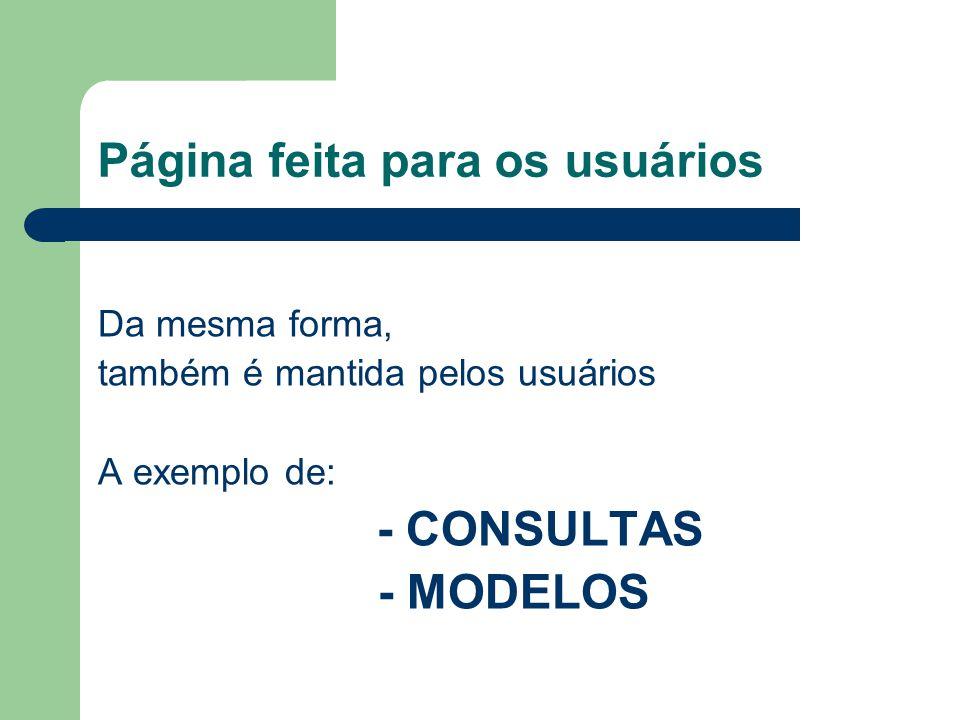 Página feita para os usuários Da mesma forma, também é mantida pelos usuários A exemplo de: - CONSULTAS - MODELOS