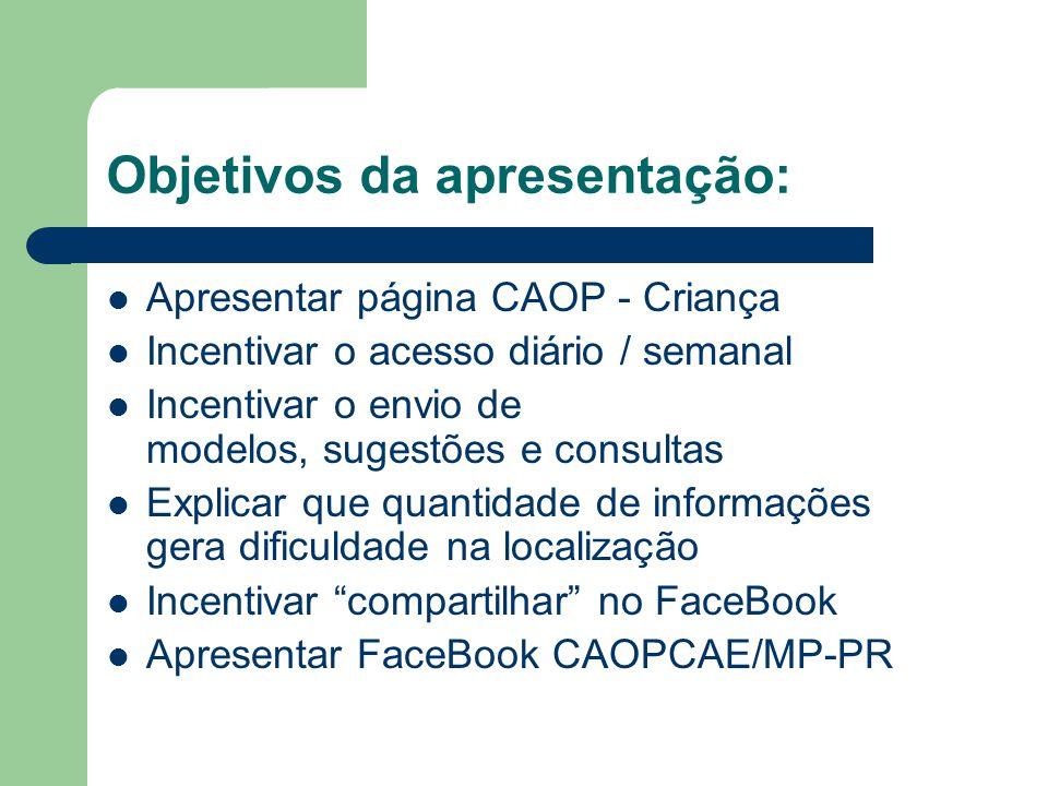 Objetivos da apresentação: Apresentar página CAOP - Criança Incentivar o acesso diário / semanal Incentivar o envio de modelos, sugestões e consultas
