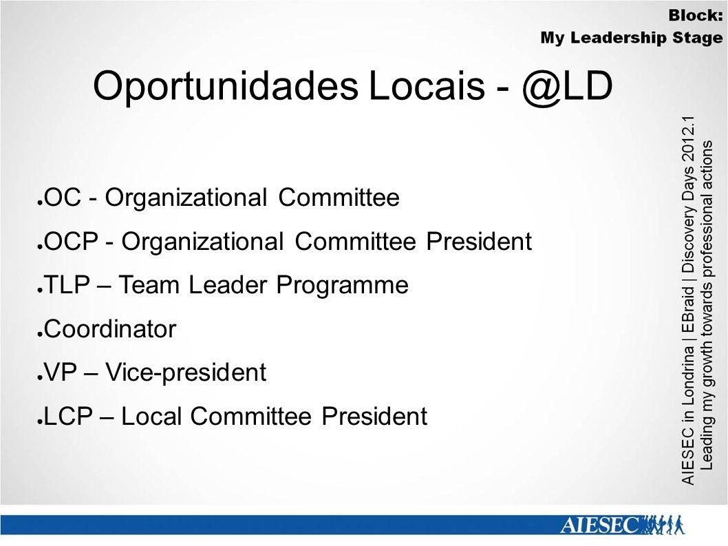 Oportunidades Locais - @LD ● OC - Organizational Committee ● OCP - Organizational Committee President ● TLP – Team Leader Programme ● Coordinator ● VP