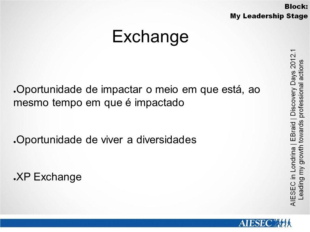 Exchange ● Oportunidade de impactar o meio em que está, ao mesmo tempo em que é impactado ● Oportunidade de viver a diversidades ● XP Exchange