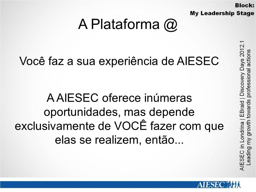 A Plataforma @ Você faz a sua experiência de AIESEC A AIESEC oferece inúmeras oportunidades, mas depende exclusivamente de VOCÊ fazer com que elas se