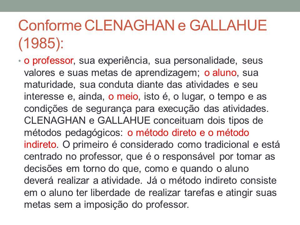 Conforme CLENAGHAN e GALLAHUE (1985): o professor, sua experiência, sua personalidade, seus valores e suas metas de aprendizagem; o aluno, sua maturidade, sua conduta diante das atividades e seu interesse e, ainda, o meio, isto é, o lugar, o tempo e as condições de segurança para execução das atividades.