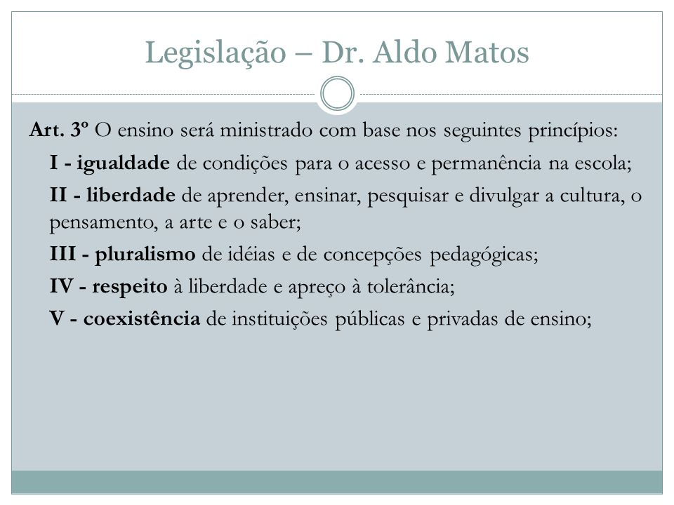 Legislação – Dr.Aldo Matos Art.