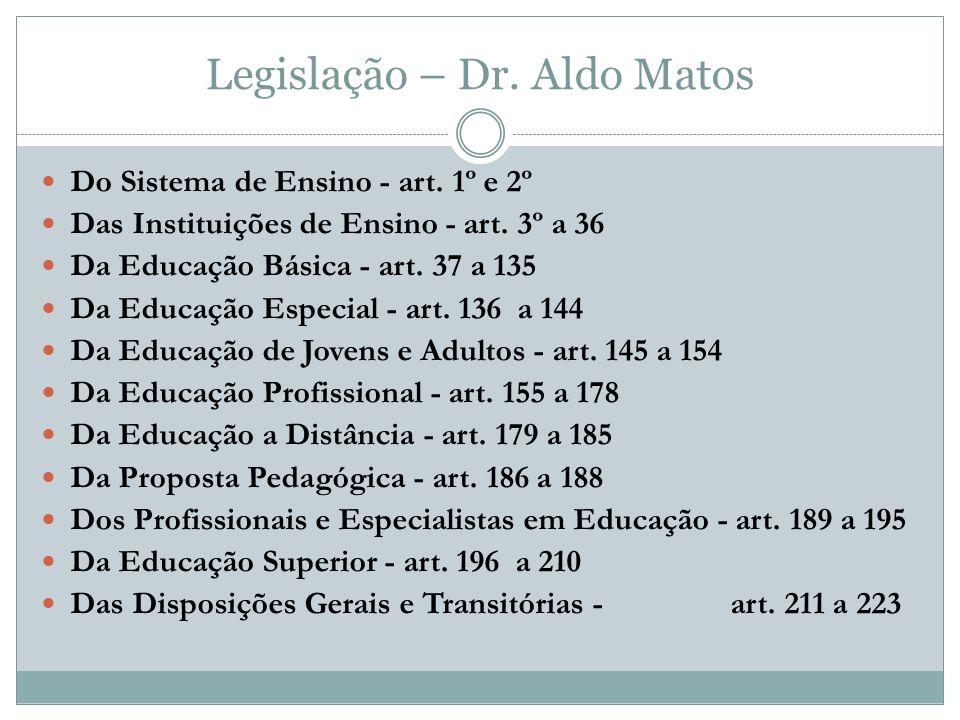 Legislação – Dr.Aldo Matos Do Sistema de Ensino - art.