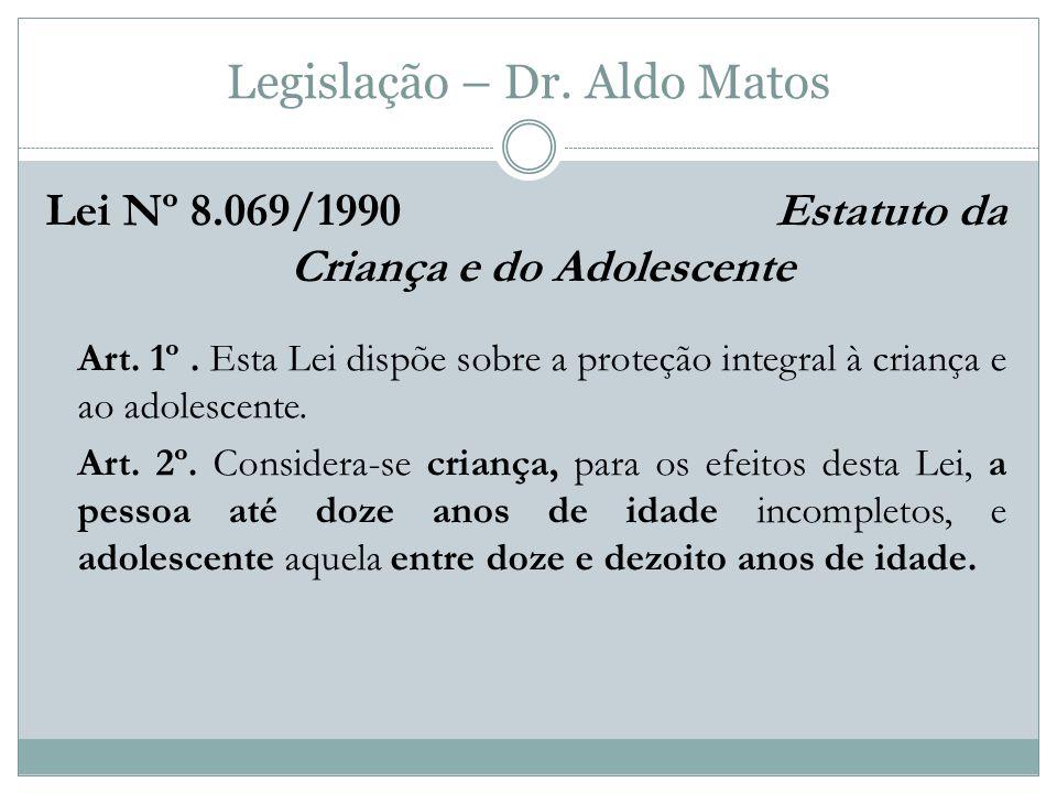 Legislação – Dr.Aldo Matos Lei Nº 8.069/1990 Estatuto da Criança e do Adolescente Art.