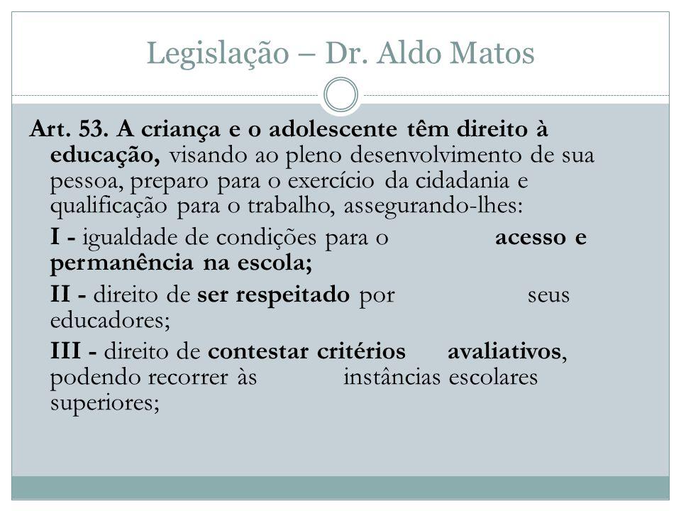 Legislação – Dr.Aldo Matos Art. 53.