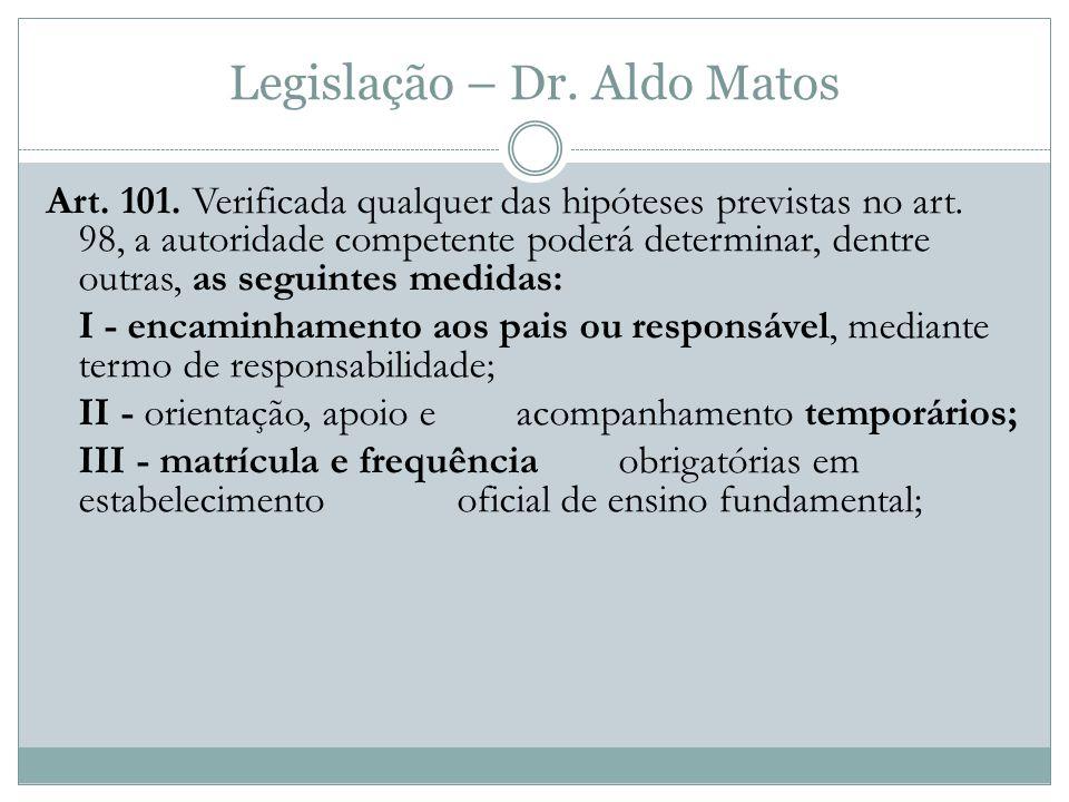 Legislação – Dr.Aldo Matos Art. 101. Verificada qualquer das hipóteses previstas no art.