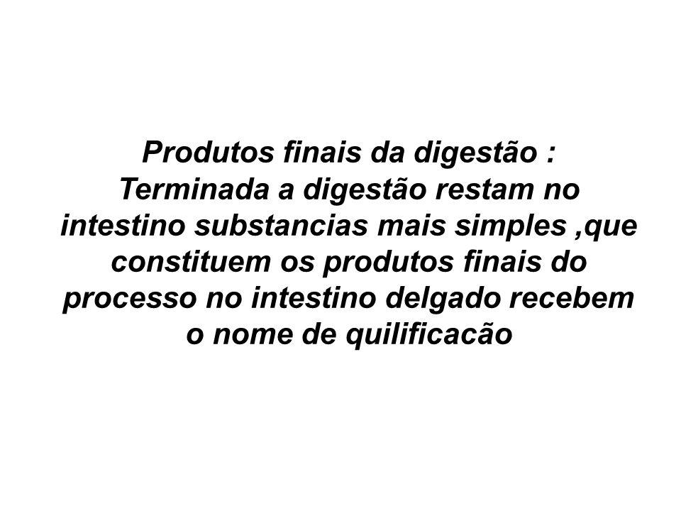 Produtos finais da digestão : Terminada a digestão restam no intestino substancias mais simples,que constituem os produtos finais do processo no intes