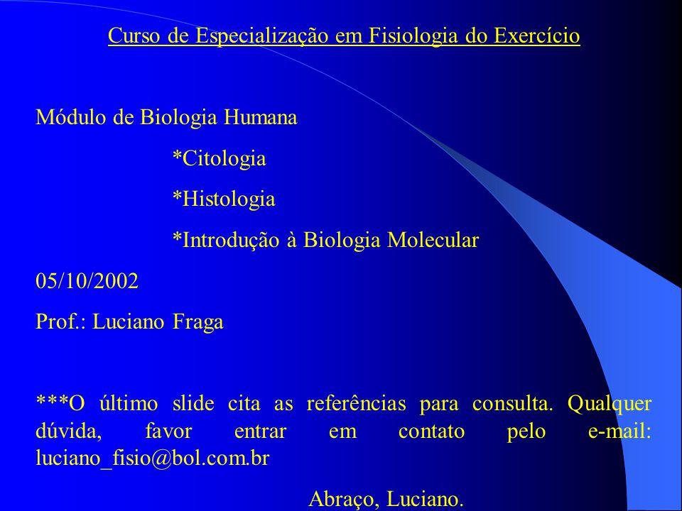 Curso de Especialização em Fisiologia do Exercício Módulo de Biologia Humana *Citologia *Histologia *Introdução à Biologia Molecular 05/10/2002 Prof.: