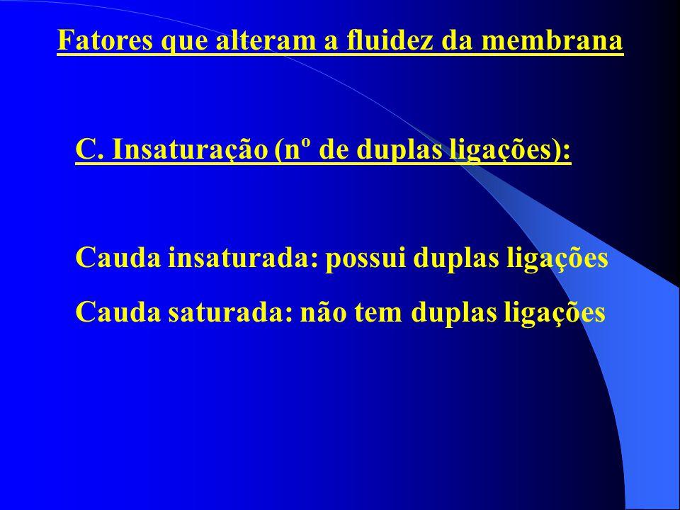 Fatores que alteram a fluidez da membrana C. Insaturação (nº de duplas ligações): Cauda insaturada: possui duplas ligações Cauda saturada: não tem dup
