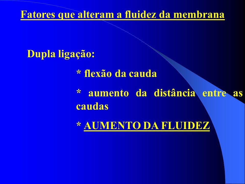 Fatores que alteram a fluidez da membrana Dupla ligação: * flexão da cauda * aumento da distância entre as caudas * AUMENTO DA FLUIDEZ