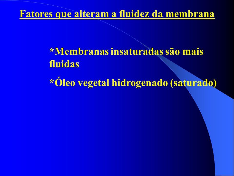 Fatores que alteram a fluidez da membrana *Membranas insaturadas são mais fluidas *Óleo vegetal hidrogenado (saturado)