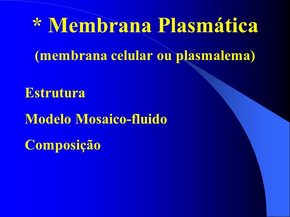 * Membrana Plasmática (membrana celular ou plasmalema) Estrutura Modelo Mosaico-fluido Composição