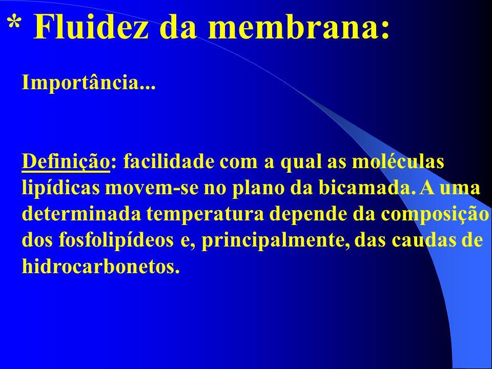 * Fluidez da membrana: Importância... Definição: facilidade com a qual as moléculas lipídicas movem-se no plano da bicamada. A uma determinada tempera