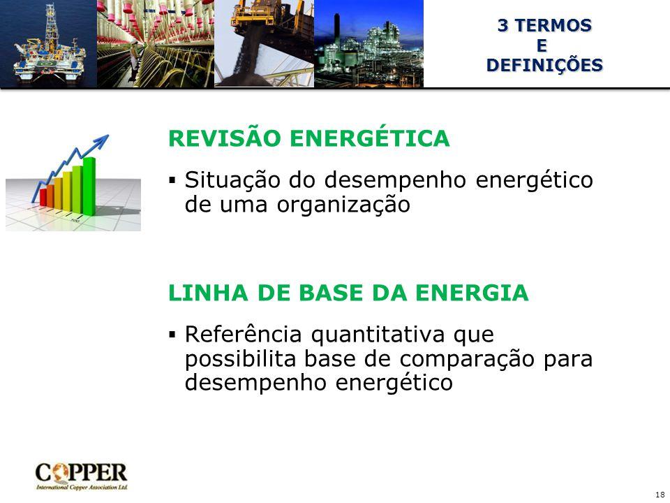 REVISÃO ENERGÉTICA  Situação do desempenho energético de uma organização LINHA DE BASE DA ENERGIA  Referência quantitativa que possibilita base de comparação para desempenho energético 18 3 TERMOS 3 TERMOSE DEFINIÇÕES DEFINIÇÕES