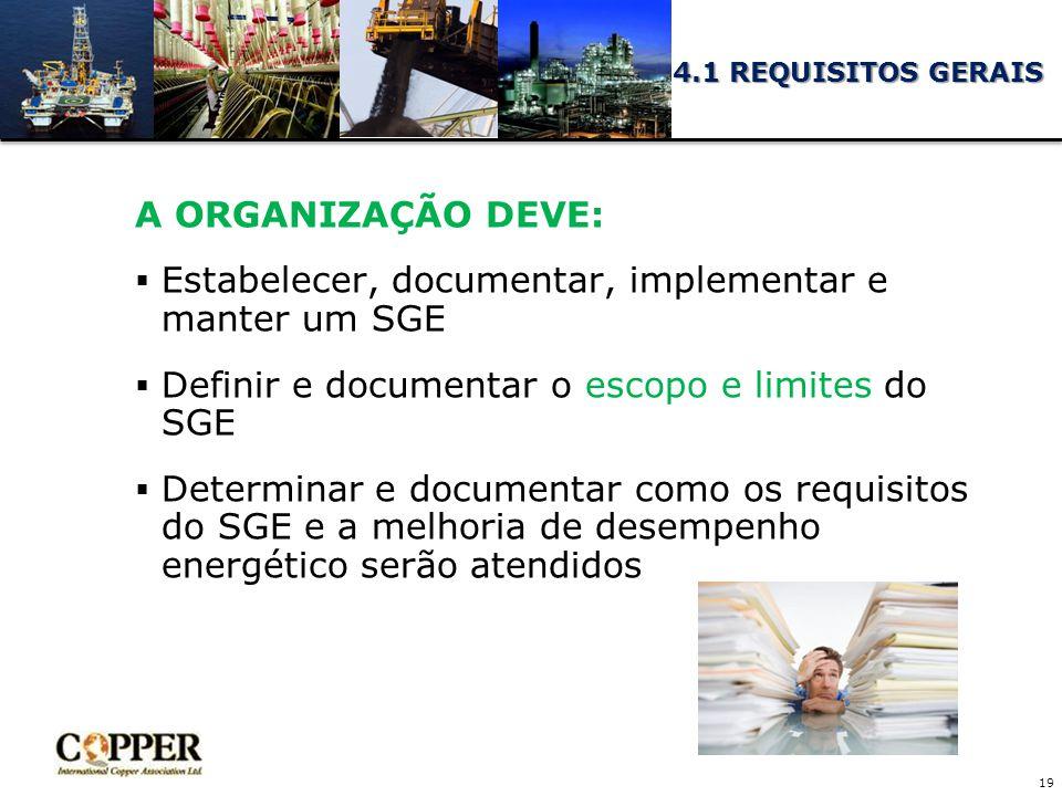 A ORGANIZAÇÃO DEVE:  Estabelecer, documentar, implementar e manter um SGE  Definir e documentar o escopo e limites do SGE  Determinar e documentar como os requisitos do SGE e a melhoria de desempenho energético serão atendidos 19 4.1 REQUISITOS GERAIS