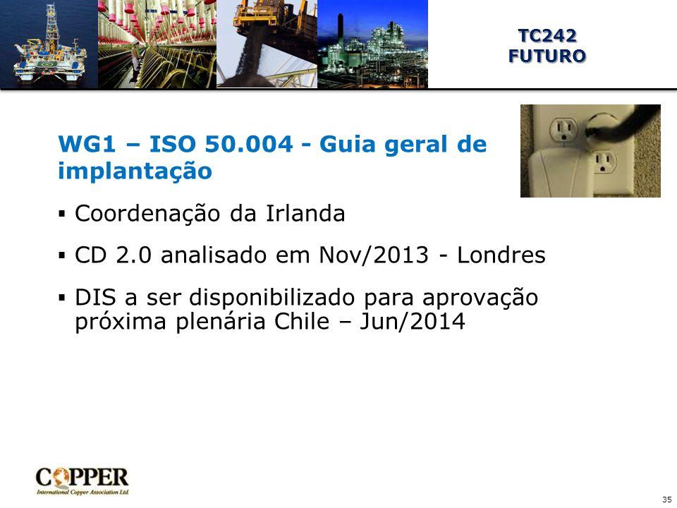 WG1 – ISO 50.004 - Guia geral de implantação  Coordenação da Irlanda  CD 2.0 analisado em Nov/2013 - Londres  DIS a ser disponibilizado para aprovação próxima plenária Chile – Jun/2014 35 TC242FUTURO