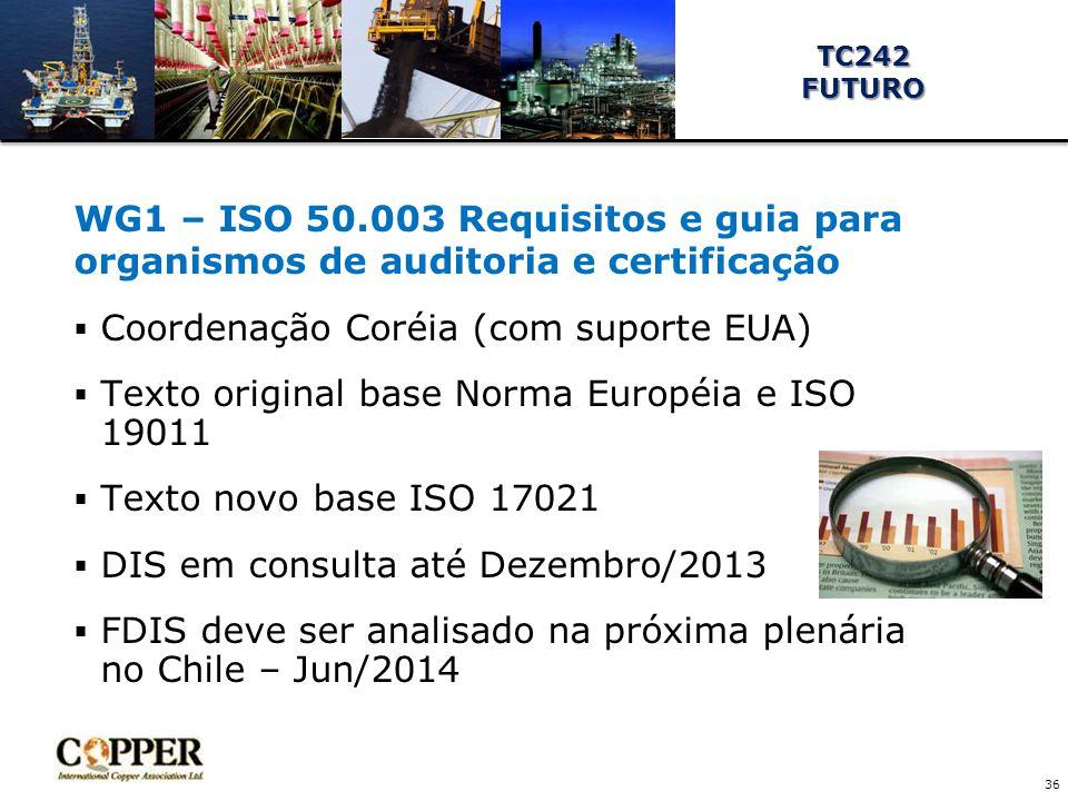 WG1 – ISO 50.003 Requisitos e guia para organismos de auditoria e certificação  Coordenação Coréia (com suporte EUA)  Texto original base Norma Européia e ISO 19011  Texto novo base ISO 17021  DIS em consulta até Dezembro/2013  FDIS deve ser analisado na próxima plenária no Chile – Jun/2014 36 TC242FUTURO