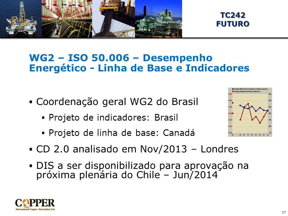 WG2 – ISO 50.006 – Desempenho Energético - Linha de Base e Indicadores  Coordenação geral WG2 do Brasil  Projeto de indicadores: Brasil  Projeto de linha de base: Canadá  CD 2.0 analisado em Nov/2013 – Londres  DIS a ser disponibilizado para aprovação na próxima plenária do Chile – Jun/2014 37 TC242FUTURO